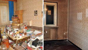Ein Vorher-Nachher-Bild einer Wohnung. Zuerst ist sie voller Gegenstände un Möbel, hinterher ist sie leer.
